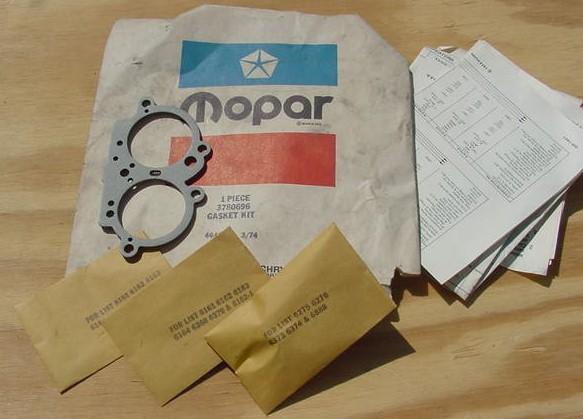 Mopar NOS Carb Gaskets 2 bbl 3780696 Parts