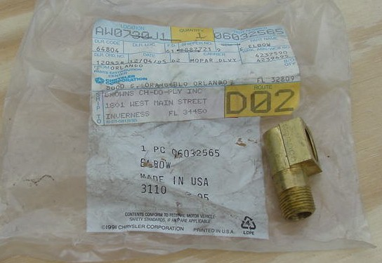 Mopar NOS Turbo return line fitting Part number 60