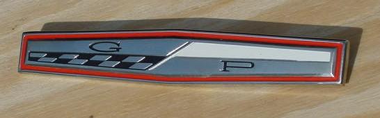 63 Grand Prix Quarter /deck lid emblem NEW