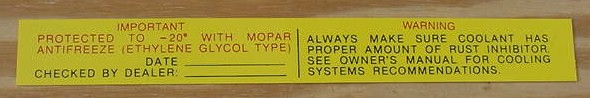 Mopar Antifreeze Decal 1962 thru 1968