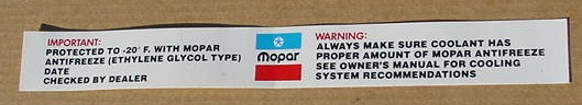 Mopar Antifreeze Decal 1976-81 NEW