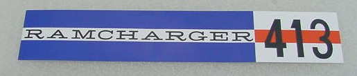 62 Dodge RAMCHARGER 413 V/C DECAL NEW