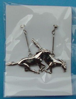 Mustang PONY earrings Chrome