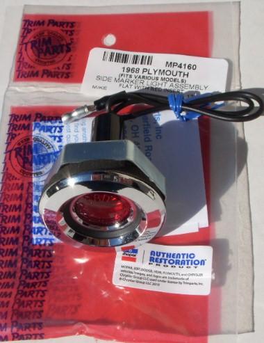 1968 FLAT Side Marker Light Rear RED