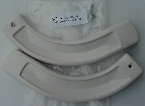 64-67 B & SOME 2 DR C-BODY BENCH HINGE COVERS - WHITE